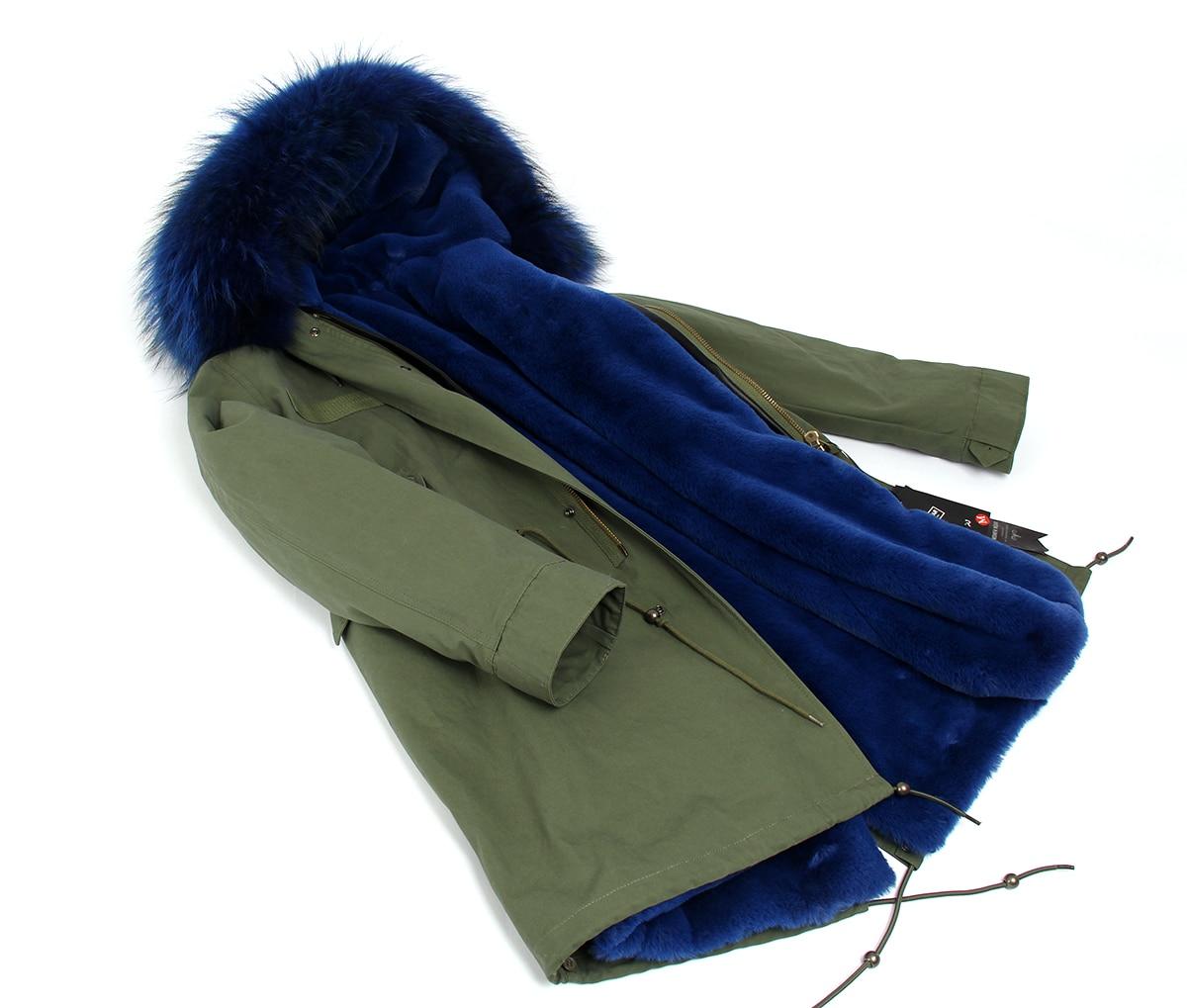 JAZZEVAR 2019 abrigo mujer ejército verde de gran color de piel de mapache con capucha parkas abrigo largo desmontable chaqueta de invierno-in Parkas from Ropa de mujer    3