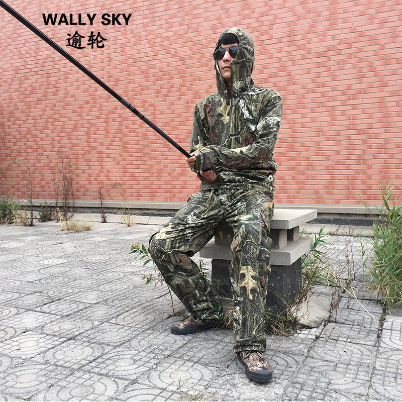Outdoor Mens Photography Bird Watching Camouflage Hunting Clothes Breathable Cotton Leaves Hooded Fishing Clothes Ghillie Suit hedging models breathable cool xihansugan fishing clothes fishing clothes male mosquito fish suit