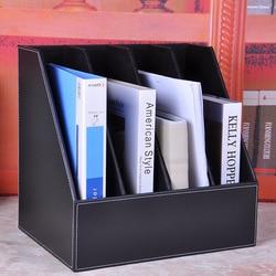 4-grid slot A4 desk leather file stand document book holder organizer documentation magazine rack storage tray wooden  622A