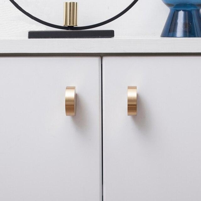 Unique solid brass Cabinet Knob Handle Dresser Knobs Gold Brass Drawer Pulls Handles Modern Simple Knob Kitchen Knobs 1