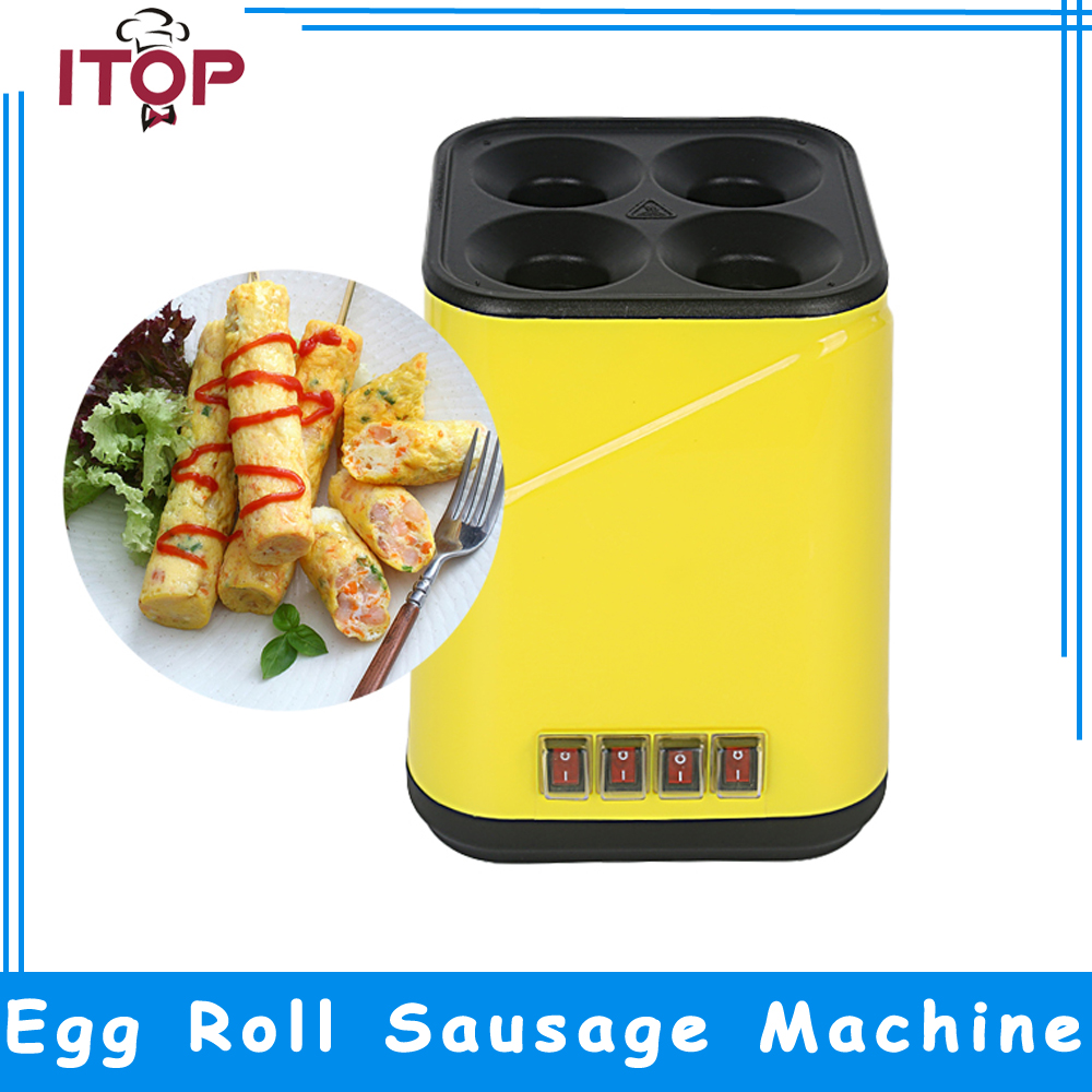 ITOP Yellow Egg Roll Maker Breakfast Sausage Machine 4 pcs per time Non-stick Teflon Surface Easy Clean 2017 lpg 10 tubes egg sausage maker korean roll maker barbecue pill maker eggs roll sausage machine