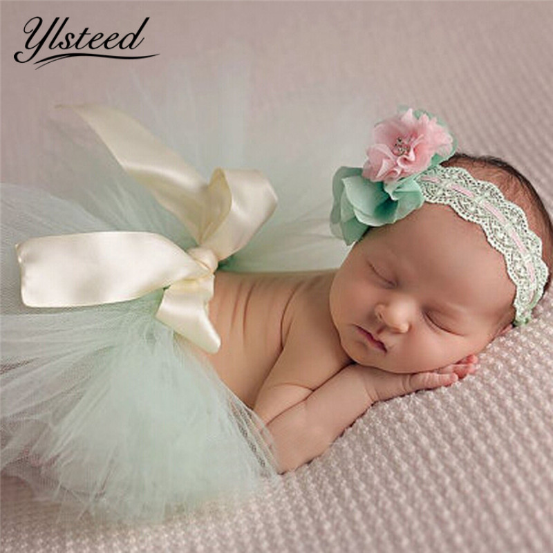 Bowknot Mesh Newborn Tutu Skirts Baby Girls Chiffon Lace Wide Headbands Infant Bubble Skirt Baby Photography Props Photo Shoot
