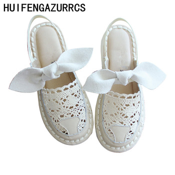 HUIFENGAZURRCS-Original hand-made Real leather lace mesh fishermen's shoes,women's Super soft sole comfortable Summer Sandals