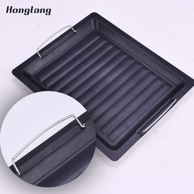 Grill plate barbecue tool household Korean style BBQ non stick thickening steel pan roast plate outdoor charcoal roast dish