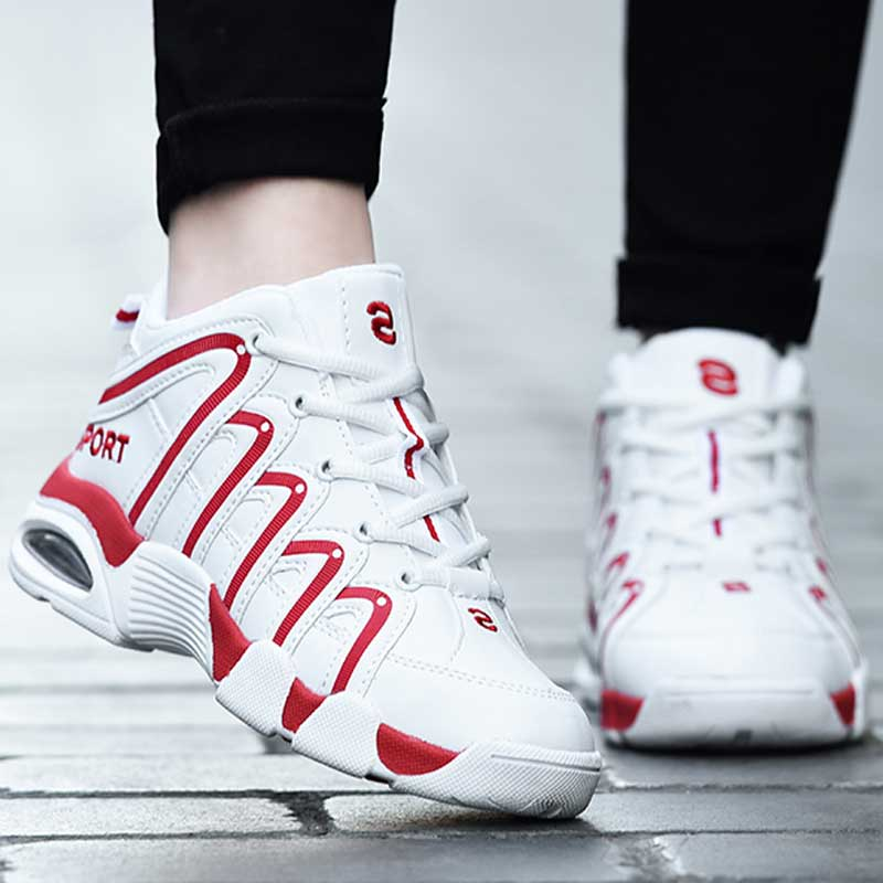 Men Women High Tops Basketball Shoes Large Size 45 Men Athletic Basket Homme Air Cushion Sneakers Women Flat Superstar Sport Red