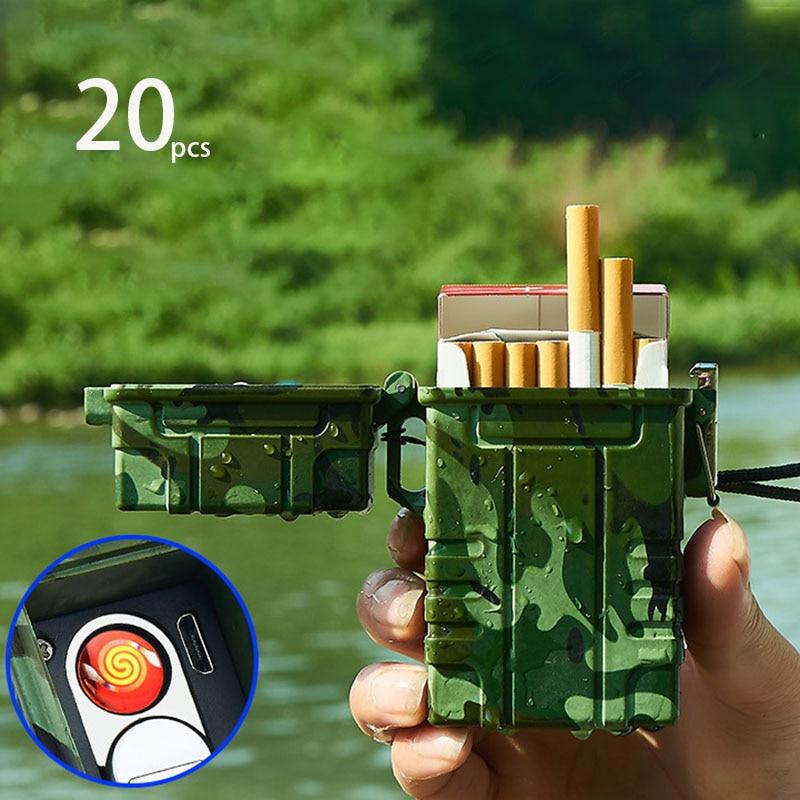 Outdoor Waterproof Portable USB Electronic Cigarette Case With Lighter 20pcs Cigarette Holder Cigarette Box Gadgets For Men