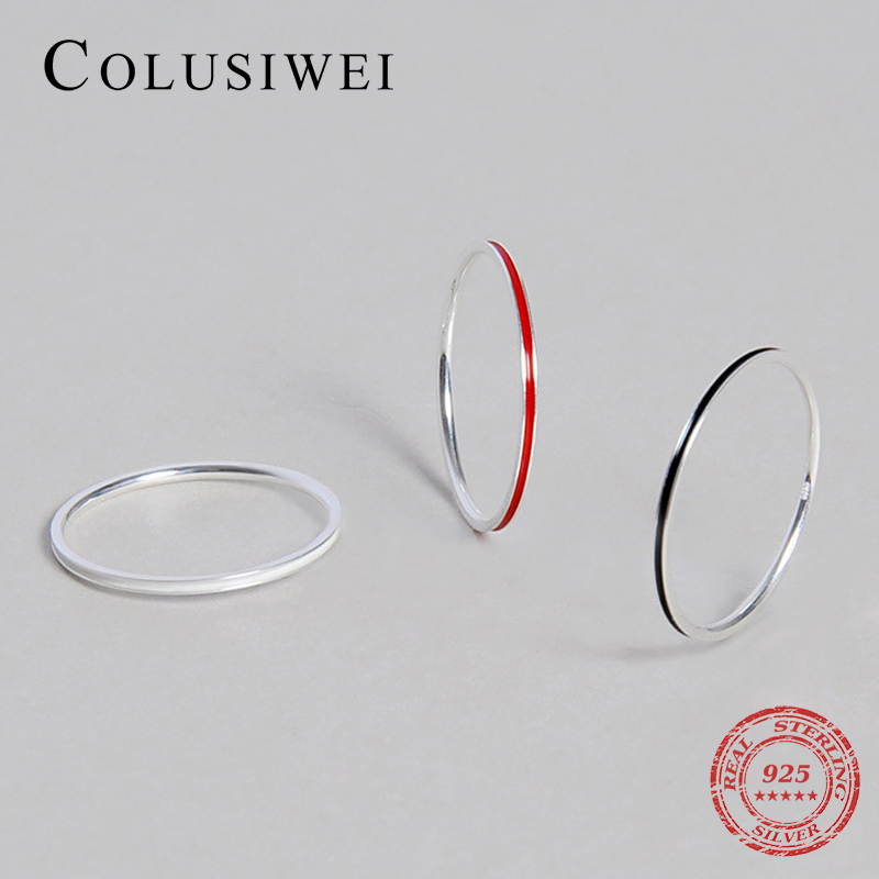 Colusiwei New Style 925 Sterling Silver Enamel Charm Simple Finger Rings 3 Color Fashion Jewelry For Women Party Silver Ring