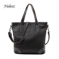 Nuleez European Black Women Handbags Genuine Leather Tote Bag For Women Real Leather Bag Cross Body Female Elegant Bag Big 1230