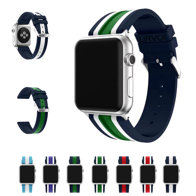 5785c17208d URVOI sport band for apple watch series 4 3 2 1 strap for iWatch mix stripe  NATO colors Soft Silicone Replacement with adapters