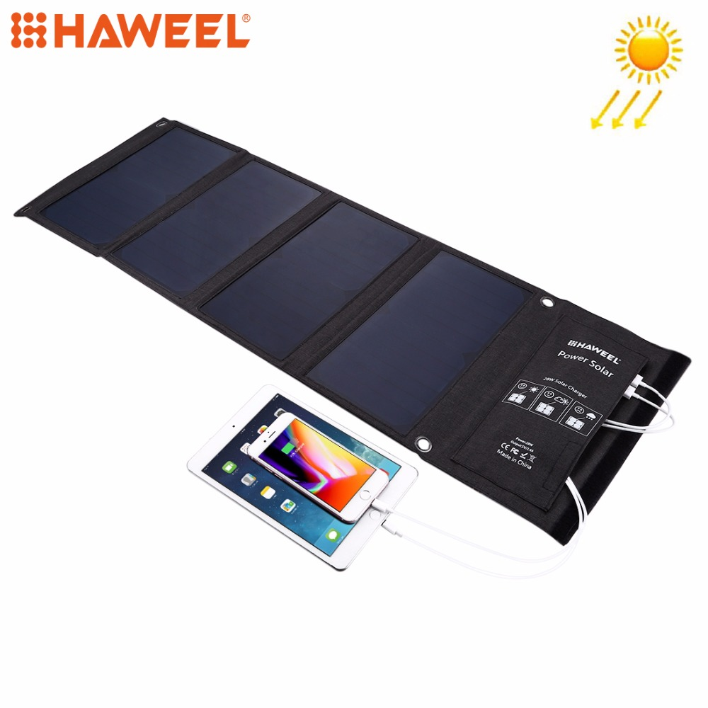 HAWEEL 28W Solar Panel Charger 2 USB Ports Foldable Power Banks Backup USB Cable For Outdoors Charging Solar Power Charger new solar panel 30000mah diy waterproof power bank 2 usb solar charger case external battery charger accessories