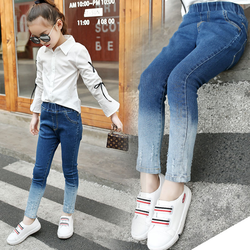 Girls Jeans 2018 Plus Size Baby Girls Pants Slim Skinny Kids Leggings Cotton Casual Children Girls Clothes 6 8 10 12 14 Year цена 2017