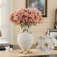 Европейская мода Керамика ваза встроенный алмаз статьи обеспечения Современная фарфоровая ваза крыльцо украшения дома