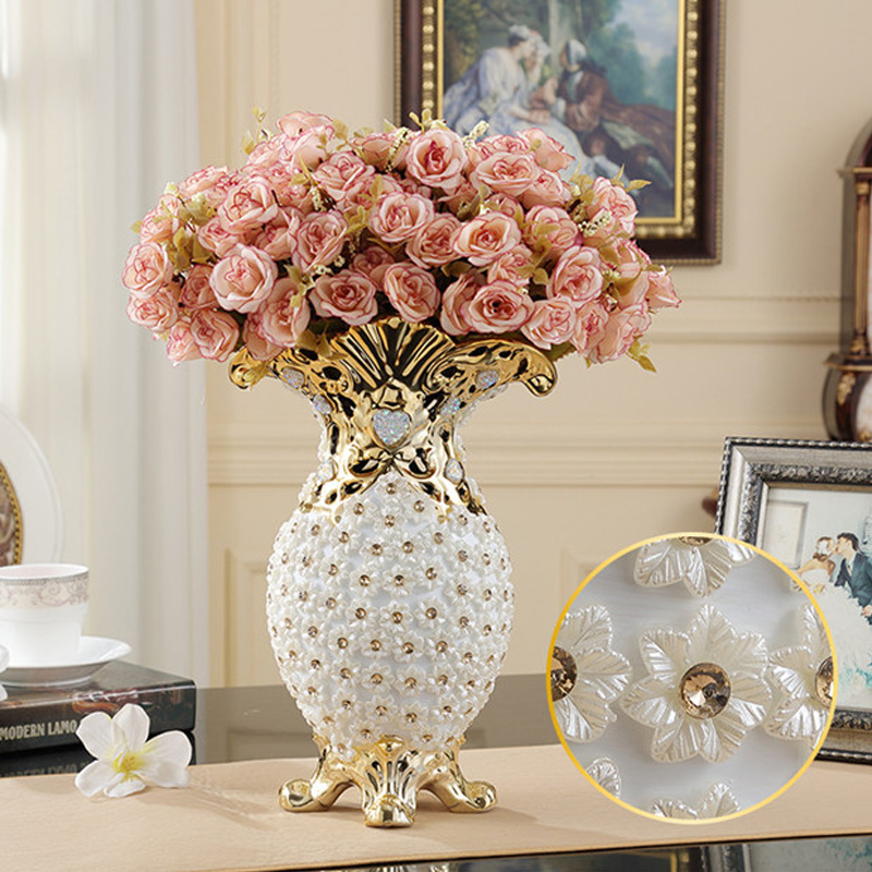 European Fashion Ceramic Vase Embedded Diamond Furnishing Articles Modern Porcelain Vase Porch Decoration Home Decoration