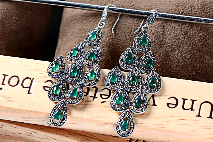 Thai Silver Peacock Green Agate Earrings exaggerated garnet red corundum Earrings female long silver jewelry 2018 top fashion sale agate s990 peacock peacock cloud chalcedony agate long silver chain sweater pendant wholesale