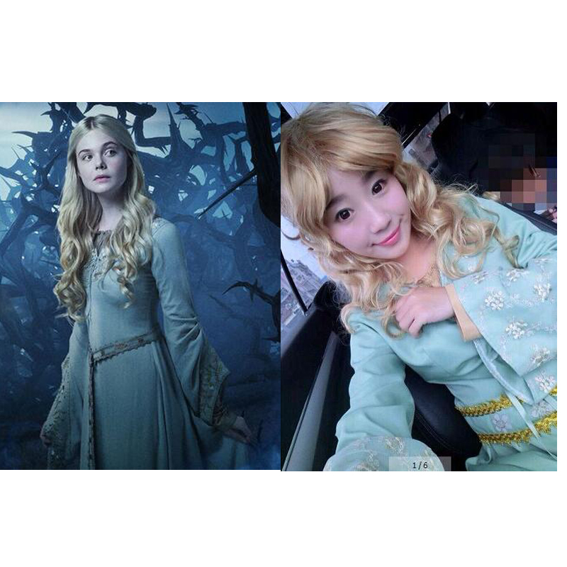 2016 movie cosplay MALEFICENT character sleeping beauty Aurora princess cosplay costume period costume long blue lace dress