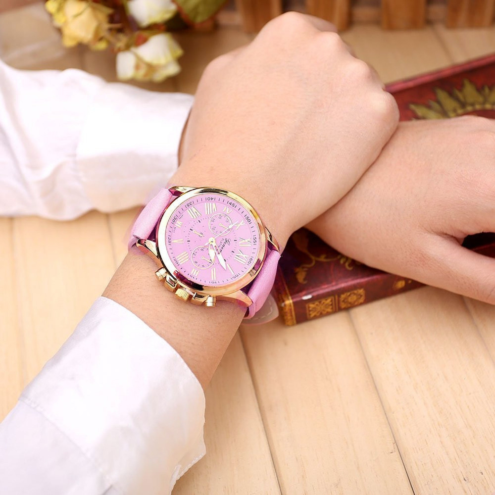 2018 Geneva Top Brand Watches Women Casual Roman Numeral Watch For Men Women PU Leather Band Quartz Wrist Watch relogio Clock
