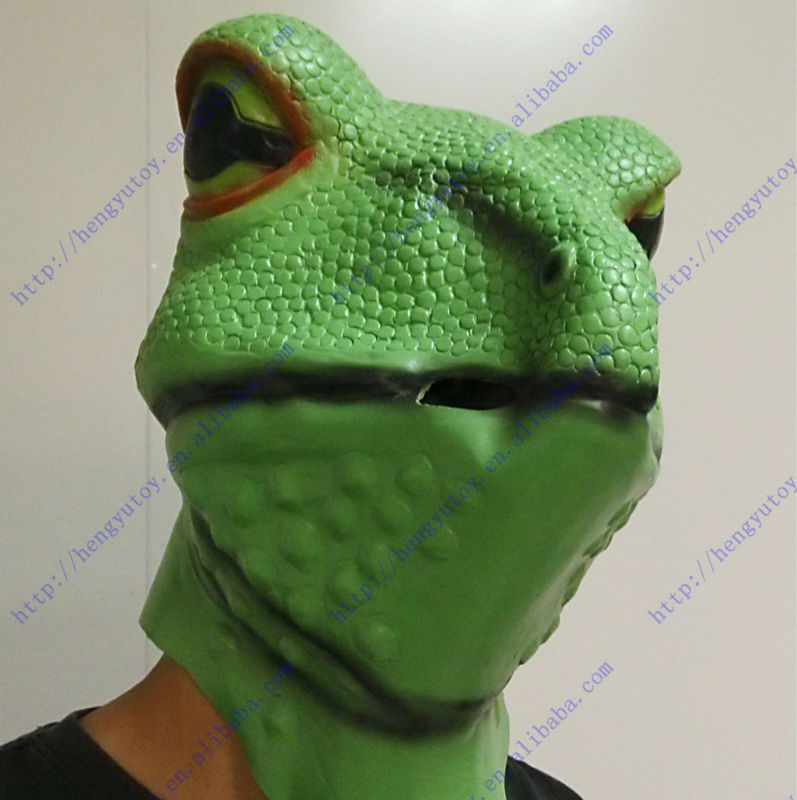 realistic animal costume part pretty vivid rubber latex full head frog mask