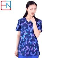Hennar Women Scrub Top Print Short Sleeves Womens Clinical Hospital Medical uniforms Nurse Suit Dental Hygiene Clinic Scrubs TOP