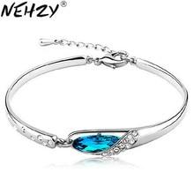 NEHZY-bracelet en argent sterling 925, nouveau bijou en cristal bleu sauvage, modèle pour femmes, mignon, vintage, super flash