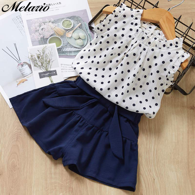 Melario Chiffon Girls Clothing Sets Summer Vest Two piece Sleeveless Children Sets fashion Girls Clothes Suit Casual Dot Outfits
