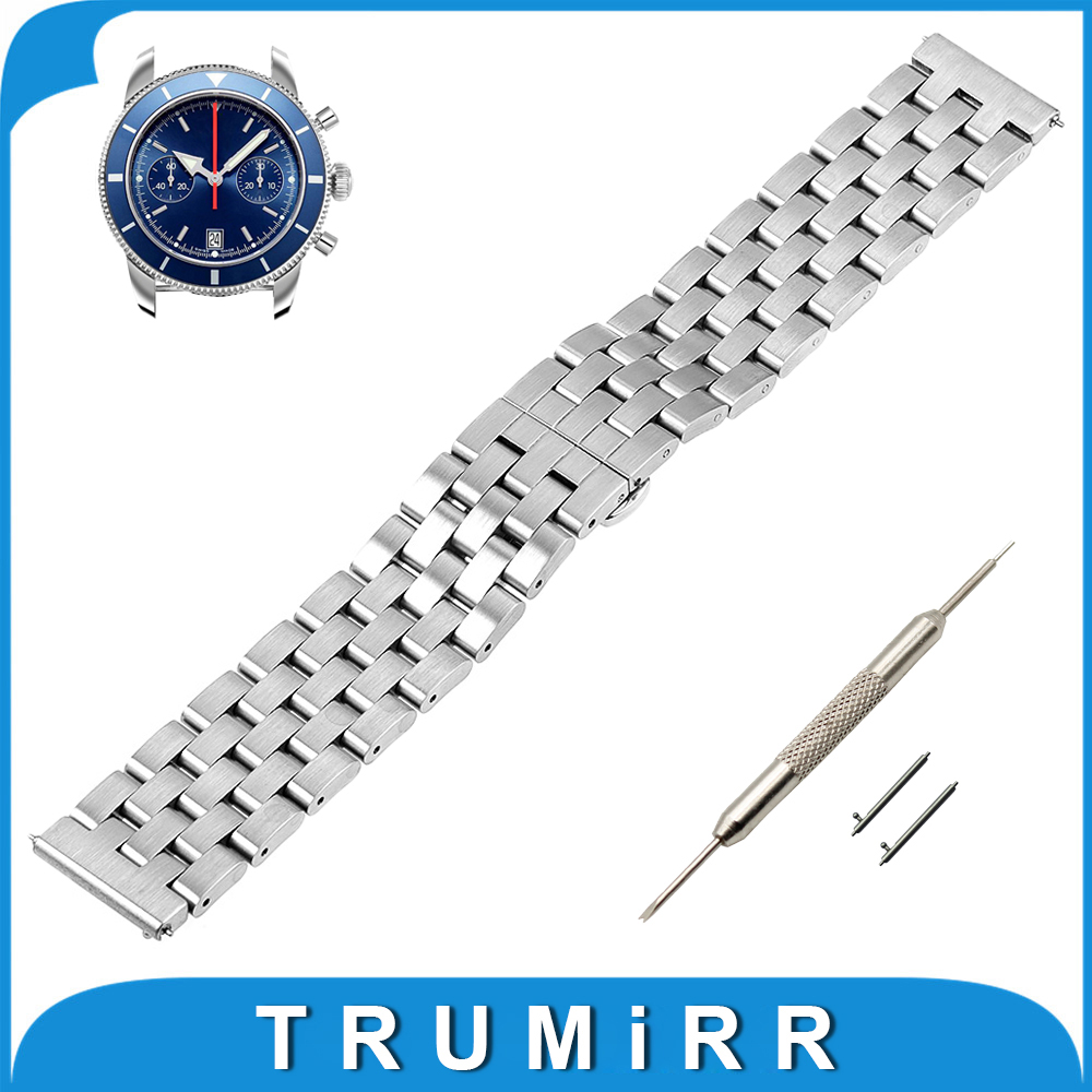 20mm 22mm Stainless Steel Watch Band Quick Release Strap for Breitling Butterfly Buckle Wrist Belt Bracelet + Tool Black Silver stainless steel watch band 20mm 22mm for cartier butterfly buckle strap quick release loop belt bracelet black silver tool