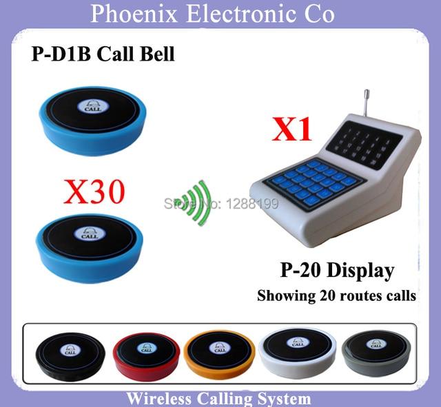 433.92 MHZ Sem Fio Sistema de Chamada para o Restaurante, 30 D1 e 1 P-20 Receptor transmissor Sem Fio Pager DHL Frete Grátis