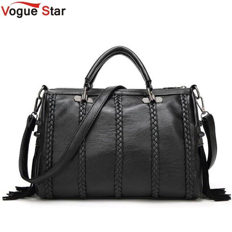 Vogue star Brand High Quality PU Leather Women Handbag Fashion Rivet Crossbody Bag European Style Tassel Women Shoulder Bag LB16 gl brand vogue 3colors jf0017
