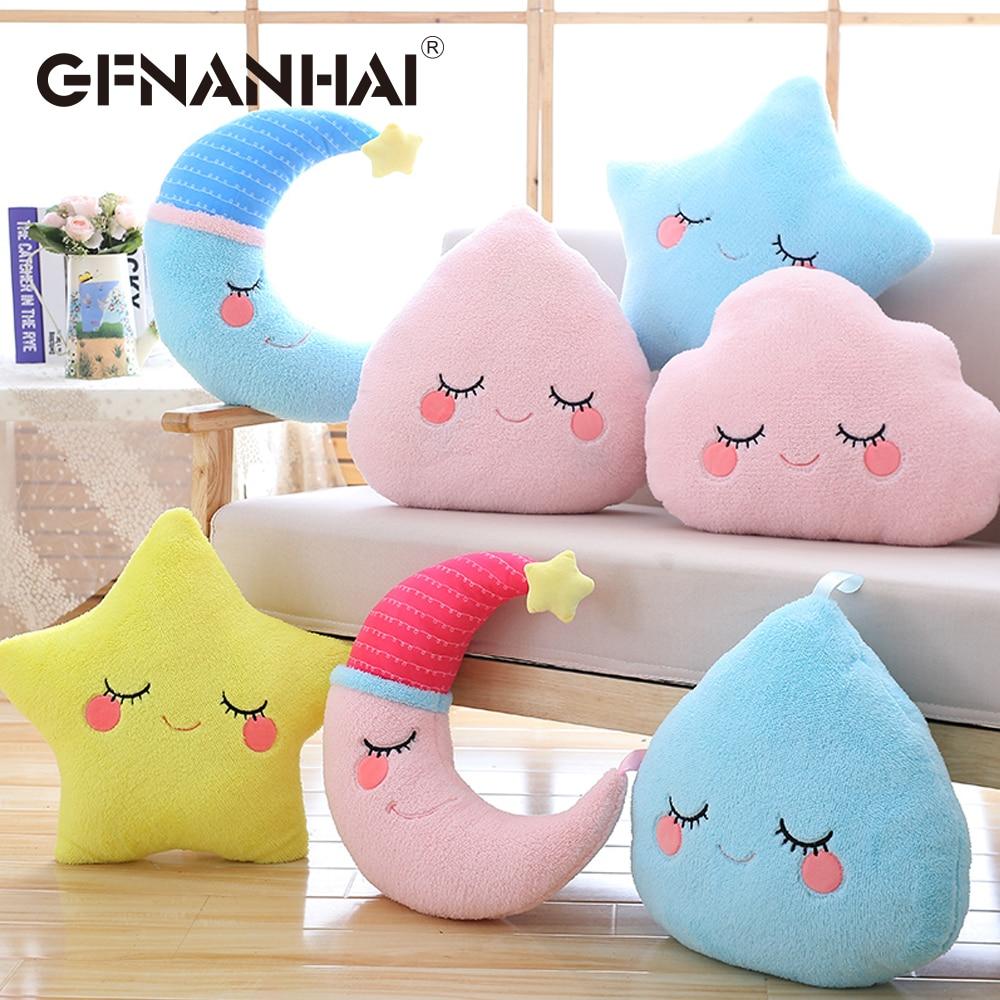 1pc Sky Series Plush Toy Stuffed Soft Cartoon Cloud Water Moon Star Plush Pillow Cute Sofa Cushion For Kids Birthday Gift