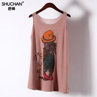 fa80781b0c Shuchan 2019 Linen Thin Tank Tops Casual Character Print Summer Tops Vest  High Quality Shirt Woman