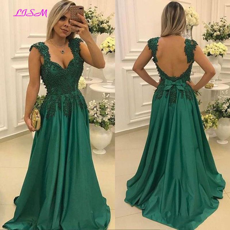 Applique Green Long   Evening     Dress   Sweetheart Sleeveless Formal   Dresses   Backless Sweep Train Satin Women Prom Gown with Bowknot