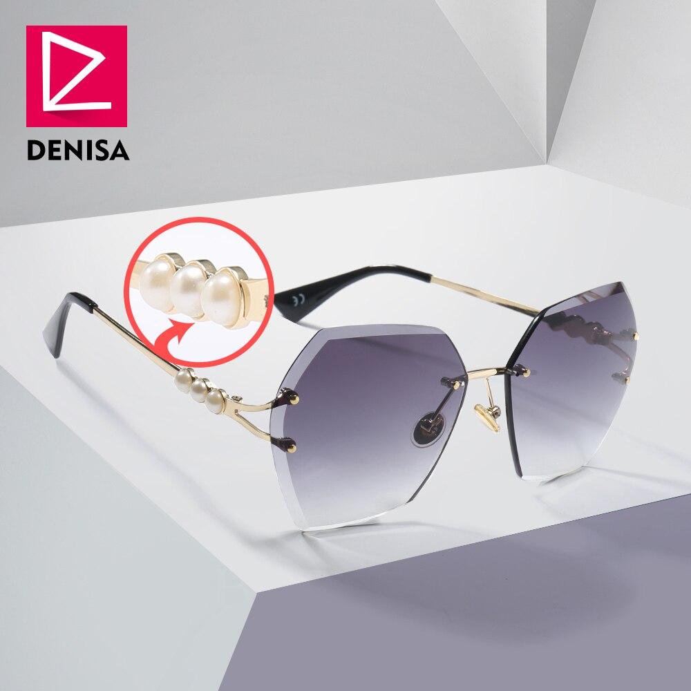 Denisa 2019 praça sem aro pérola óculos de sol retro designer marca feminina na moda gradiente polígono feminino uv400 g23023