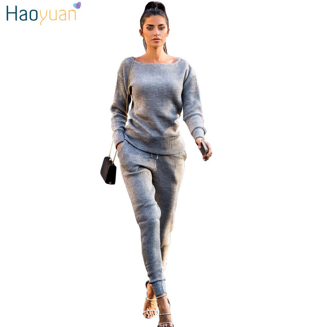 Haoyuan Womens Sweater Sets Toplong Pants Knitted Tracksuit Outfit