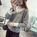Pullover Rushed Women Sweater 2016 New Korean Autumn Dress Sleeve Head V Neck Sweater Knit Female Backing Color Spring Coat