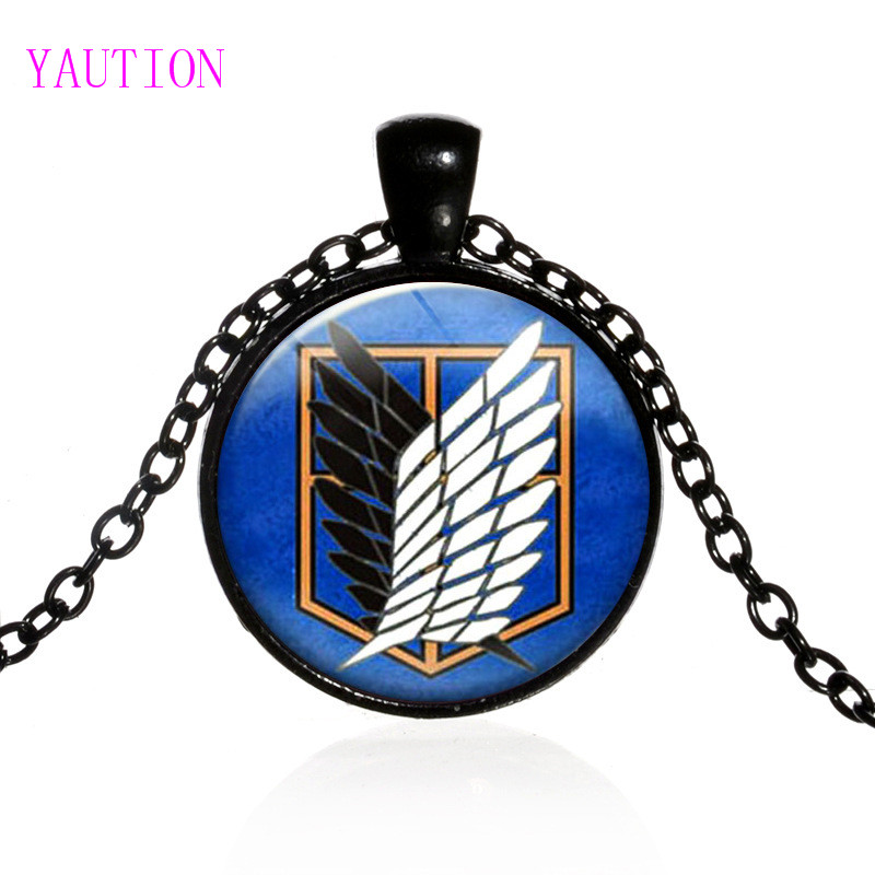 Necklace for Men Fashion Steampunk Japan Anime Attack On Titan Pendant Women Men Necklace Glass Handmade Jewelry