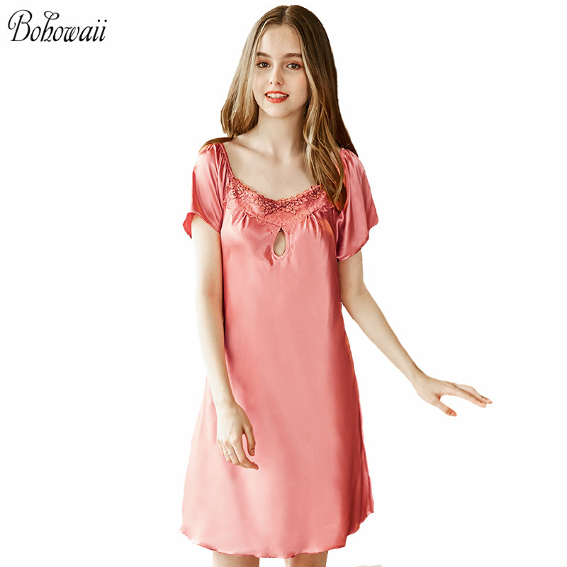 Silk Long Nightdress <font><b>Plus</b></font> <font><b>Size</b></font> <font><b>Sexy</b></font> <font><b>Camisola</b></font> De Dormir Feminino Hollow Print Pink <font><b>Lingerie</b></font> For Women image
