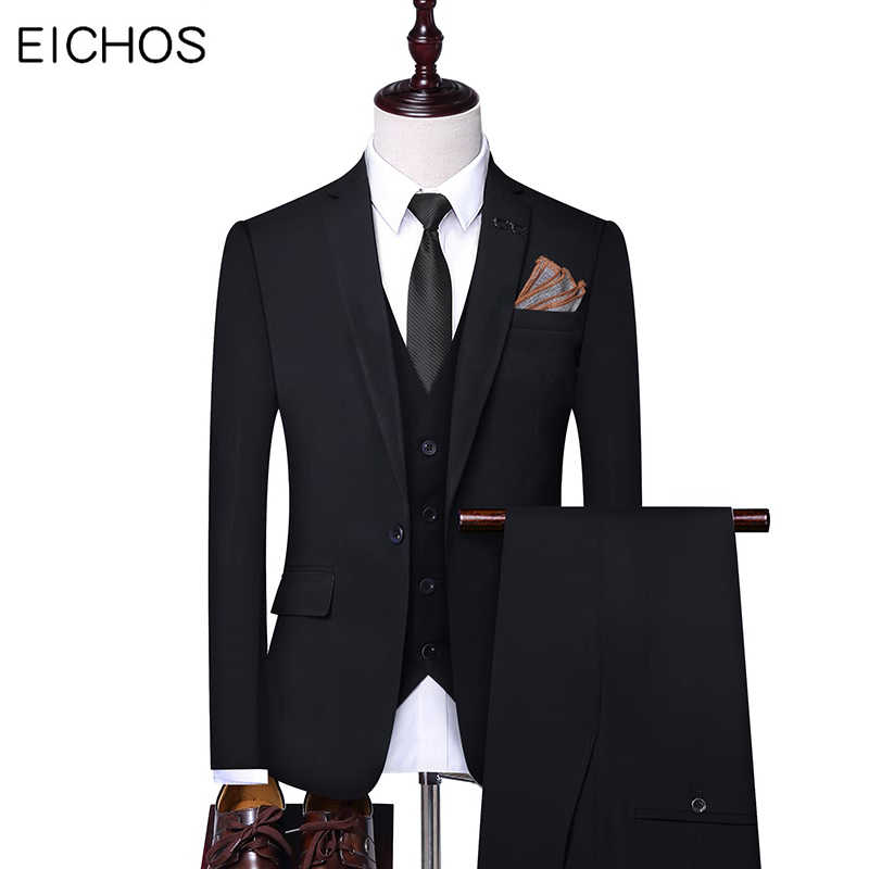 Men's Suits Formal Party Black Gray Single Button Groom Suit Wedding Male Handsome Slim Suits for Best Men (Jacket+Vest+Pant)
