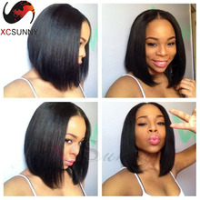 Cheap Natural Color 12inches Unprocesses Brazilian Human Hair Short  Bob Wigs 2x4inches Middle Part Opening Bob U part  Wig