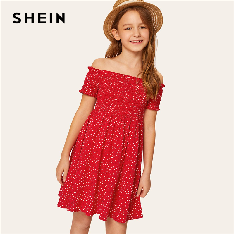 SHEIN Kiddie Red Off The Shoulder Smocked Frill Dot Girls Dress 2019 Summer Short Sleeve Vacation Boho Knee Length Flared Dress недорго, оригинальная цена