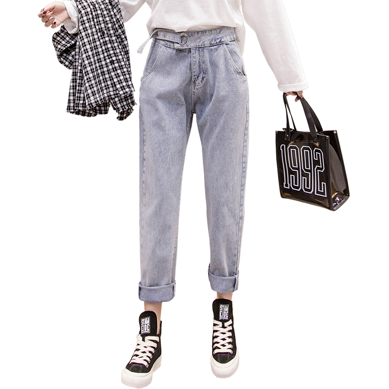 2019 spring new wild long Korean street casual wild straight women's jeans ankle-Length pants 6