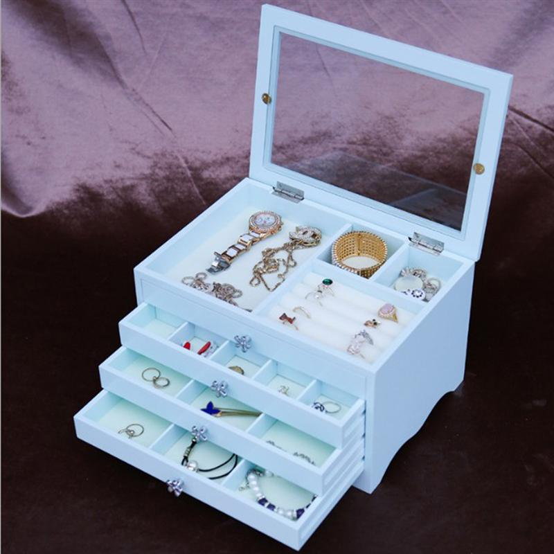 OUNONA di Monili di Legno Box Organizzatore con Coperchio Più Cassetti di Caso di Immagazzinaggio per Collane Bracciali Orecchini Anelli (Blu) - 3