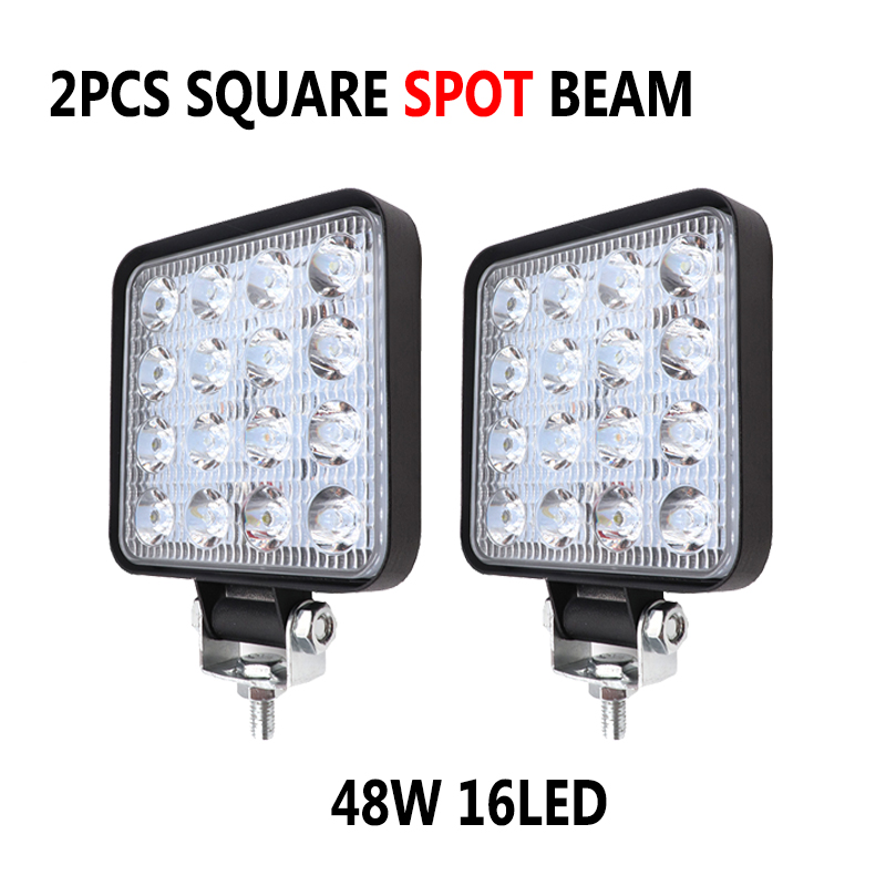 Pair 4 inch 48W <font><b>16</b></font> <font><b>LED</b></font> Car <font><b>Work</b></font> <font><b>Light</b></font> Spot Beam <font><b>LED</b></font> Bar For Motorcycle Tractor Jeep Off Road 4WD 4x4 Truck SUV ATV image