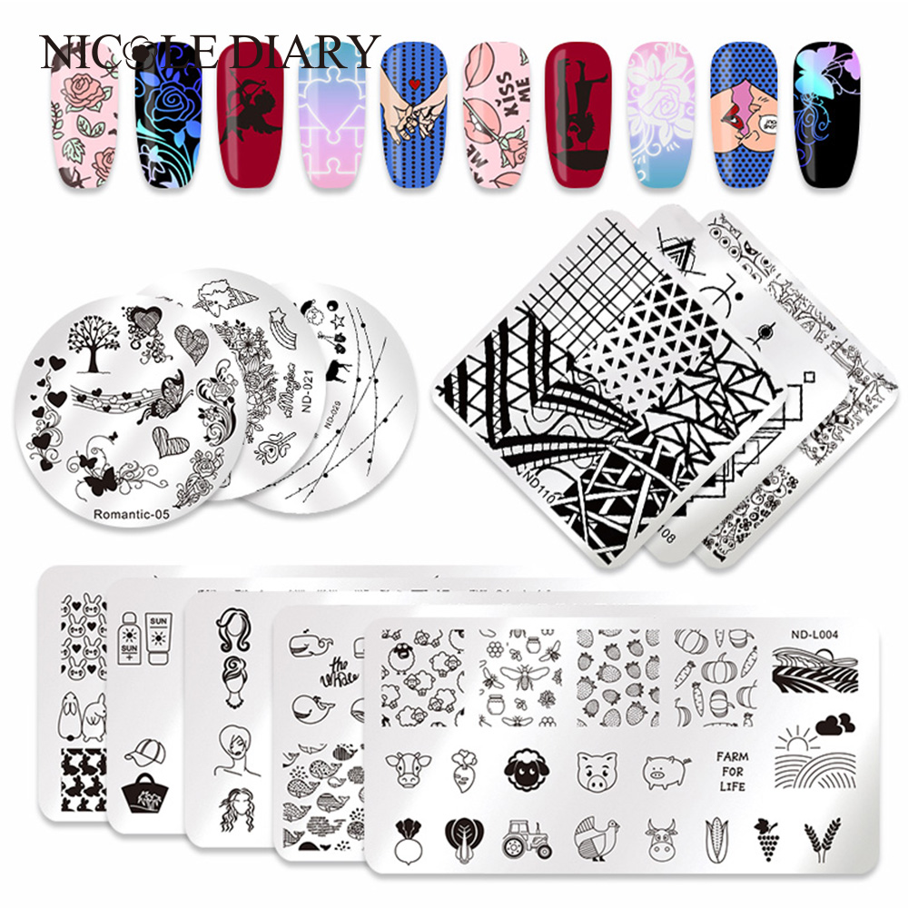 Nicole Diary Valentine Series Stamping Template Unicorn Flower Led Chaser Stamp Image Plate Round Square Rectangle Nail Art Tool