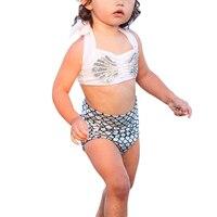 BONJEAN 2pcs Baby Girl Bikini Set Summer Swimwear 6M-7Y Holiday Girls Kids Mermaid Tail Bikini Set Swim Suit Costume