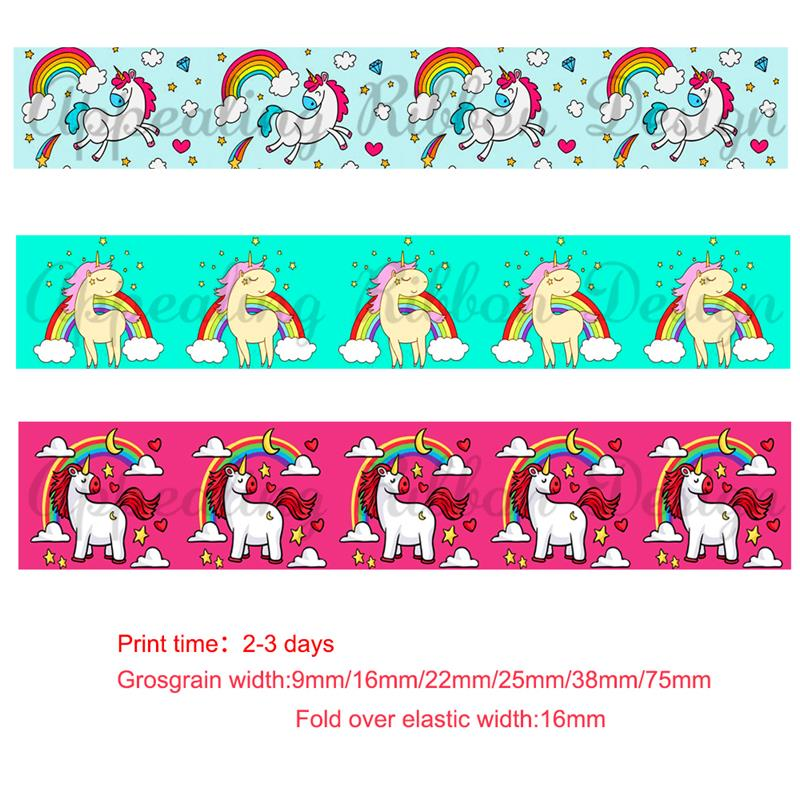 """50mm 2/"""" Perfect for Hair Bows and other Crafts. Unicorn Design Grosgrain Ribbon"""