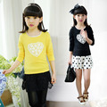 Girl Rendering Unlined Upper Garment Spring Autumn New Child Pure Cotton Pity Kids T-shirts Clothing 3 Colour