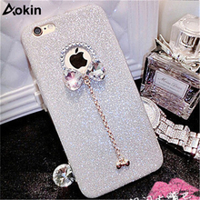 Aokin Luxury Case For iPhone 5 5S SE Case Bling Flash Powder Rhinestone With Bow Fashion Soft TPU Shell for iPhone 5S Covers