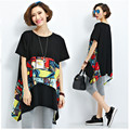 New Women Fresh Summer Printing T-shirt 2016 Large Size Loose for Fat 100 kg Cotton Stitching Long T-shirt A283