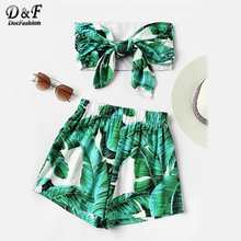 Dotfashion Green Leaf Print Random Bow Tie Crop Bandeau Tops With Shorts Summer Strapless Sleeveless Sexy