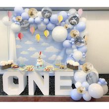 METABLE 300 pcs Baby Blue White Pack White Marble and Gold Confetti Party Balloons for baby shower,boy birthday decor,12/10inch berossi 51 white marble