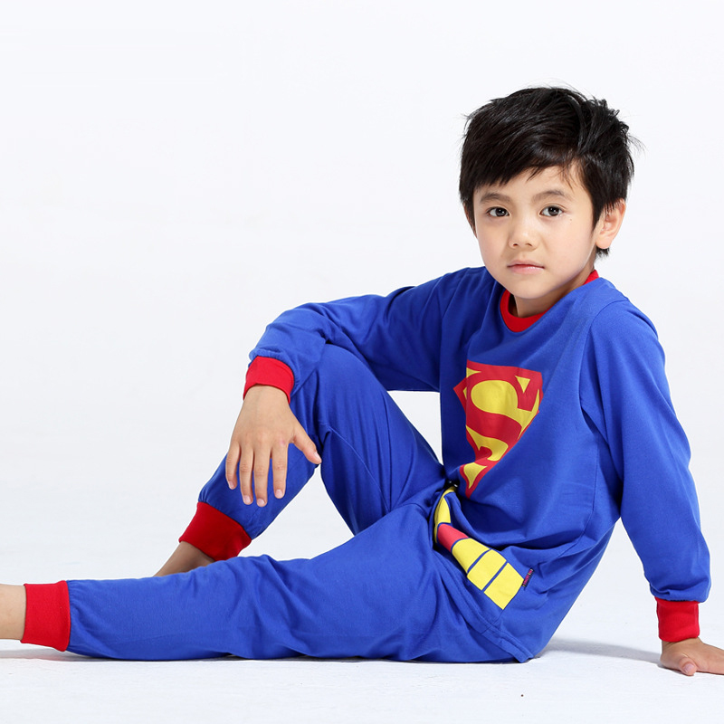 Superman Printed Pattern Kids Set Pajamas Set Boys Sleepwear Boys Clothes Kids Pjs Tiny Cottons Long Sleeve Top Boy Pants 2Pcs